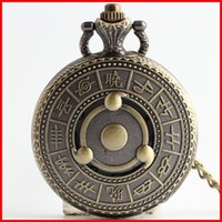 antique kaleidoscope - 2016 Naruto Akatsuki Kaleidoscope Syaringan Pocket Watches clock Bronze locket necklace quartz Watches valentine s day jewelry gift