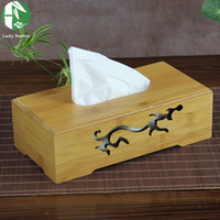Wholesale types tissue boxes natural bamboo napkin box cover with carvings paper towel storage new creative wooden Table Decoration