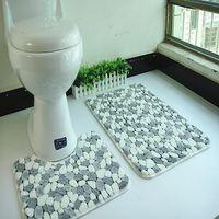 Wholesale 2pcs set polyester mesh coral fleece floor mats bathroom ground mat set cm cm water absorption anti slip anti bacteria rugs free