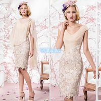 beige wedding gowns - 2016 Beige Mother of the Bride Dresses Cheap V Neck Knee Length Applique Lace With Shawl Wedding Party Cocktail Formal Evening Dress Gowns