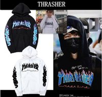 color flame - Thrasher Hoodies For Men Thrasher Flame Fleece Hoodies Sweatshirt Men Recreational sudaderas hombre moleton masculino