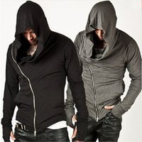 Wholesale SO COOL The New Fashion Outdoor Men Coat With Oblique Zipper Men Hooded Sweatshirt