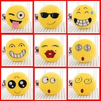 Wholesale Diameter cm cm30cm Cushion Cute Lovely Emoji Smiley Pillows and pendant Cushion Pillows Yellow Round Pillow bolster Stuffed Plush Toy