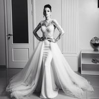 Wholesale Excellent white mermaid wedding dresses long sleeves bridal gown lace appliques vestidos de noiva with detachable train