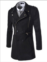 Wholesale 2016 Fashion New Long Trench Coat Men Zipper Double Breasted Decoration Slim Fit Pea Coat Winter Trenchcoat Jacket