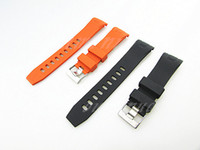 Wholesale 22mm NEW Black And Orange Diver Rubber Curved end Watch Band Strap