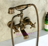 antique metal telephones - Antique Brass Wall Mount Telephone Euro Bath Tub Faucet Mixer Tap w Handheld Spray Shower