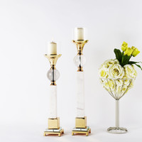 Wholesale Hot Selling Luxious and Noble Gold Candle Stand Modern Metal Candle Holder for Living Room Party Wedding or Home Decoration