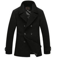 Wholesale Fall New Fashion Men Woolen Coat Casual Duble Breasted Men Jackets Outwear Winter Overcoat Black Size M XL