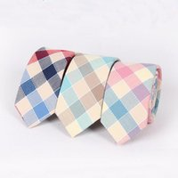 Wholesale cm Men s casual skinny cotton colorful checked ties Fashion Candy color Wedding party slim Ties