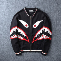 baseballs red coat - 2016 Autumn shark sleeve baseball windbreaker hoodie ture brand coat sweatshirts top mens designer clothes small plus size black red
