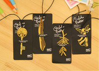 Wholesale Cute Kawaii Gold Metal Bookmark Vintage Key Feather Angel Bookmarks Paper clip for book Korean Stationery