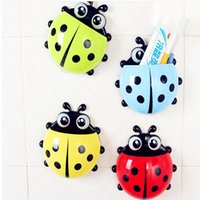 Wholesale 2pcs colors cute ladybug cartoon sucker toothbrush holder hooks items for home suction brush rack bath tool set