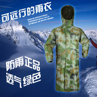 Wholesale Digital outdoor Camouflage one piece long design trench adult motorcycle riding jacket waterproof long design hooded