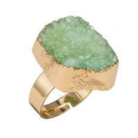 amethyst druzy ring - 10PCS Fashion K Gold Colorful Unique Natural Stone Quartz Amethyst Crystal Druzy Adjustable Women Ring SJZ001