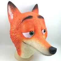 latex cartoon - Halloween Mask Masquerade for Adult Zootopia Nick Wilde Party Masks Cartoon Film Fox Latex Masks Full Head Animal Mask Cosplay