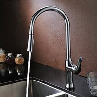 Wholesale PHASAT New Contemporary Brass Chrome Brushed Nickel Swivel Pull Down Sprayer Single Hole Silver Sink Kitchen Faucet