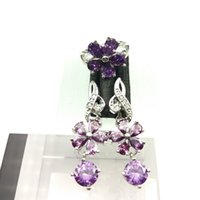asian style lighting - Light Purple color Gems Flower Style Topaz Jewelry Sets For Women Silver Drop Earrings Necklace Pendant Rings Free Jewelry Box