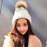 Wholesale 2016 AW LATEST HIGH QUALITY WOMEN HOT FASHION RIB KNITTED BEANIE HAT WITH CM SUPER LARGE GENUIN FUR POM IN COLORS M61