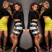 bad girls club - New Sexy bad girl Print white and Black Piece Set Women Two Piece Dress Bodycon Outfits Bandage Dresses
