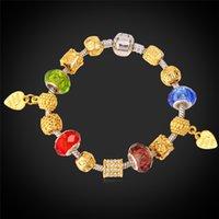 Pulsera de la joyería DIY estilo europeo cadena cristalina de color azul de plata de los granos de cristal de Murano de moda Nuevas pulseras del encanto para las mujeres H123