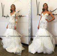 beach bolero - Hayley Paige Corset Bodice Mermaid Wedding Dresses With Detachable Long Sleeve Bolero Tiered Tulle Skirt Full length Beach Wedding Gown