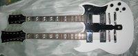 El cordón caliente 6g de la venta de la alta calidad encadena la guitarra eléctrica del cuello doble con el cuerpo de caoba en el color blanco