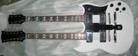 Acheter Cordes sg-Haute qualité chaude vente sg 6/12 cordes guitare électrique double cou avec corps en acajou en couleur blanche