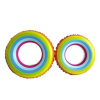 Wholesale 2016 New Arrival Adult Rainbow Inflatable Swimming Float Tube Ring Raft Pool Float Swim Ring Summer Water Fun Pool Toys