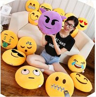 Wholesale Emoji Emoticon Yellow Stuffed Cushion Pillow Round Plush Soft Toy Doll