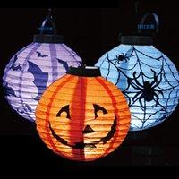 Wholesale Halloween Pumpkin Lights Lamp Halloween Paper Lantern Spiders Bats Skull Pattern Decoration Battery Bulbs Ballons Lamps for Kids