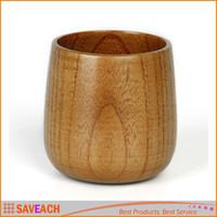 Wholesale Primitive Handmade Natural Solid Wood Wooden Tea Cup Wine Mug Breakfast Beer Milk Coffee Cups Drinkware