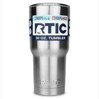 Wholesale 304 Stainless Steel oz RTIC Cups Cooler RTIC Rambler Tumbler Cup Vehicle Beer Mug Double Wall Bilayer Vacuum Insulated ml