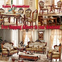 Wholesale Whole house furniture italian genuine leather sofas living room sofa dinner set table chair