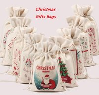 bamboo sack - DHL Free Christmas Canvas Monogrammable Santa Claus Drawstring Bag With Reindeers Monogramable Christmas Gifts Sack Bags