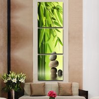 bamboo artists - 3 Set Artist Canvas Still Life painting Bamboo and Stone vertical forms Canvas Prints Wall Pictures for Living Room Picture No Frame
