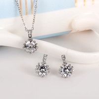 Cheap Wholesale-Classic Sun Flower CZ Austrian Crystal Diamond Silver Plated Necklaces&Pendants and Earrings Jewelry Sets For Women Best Gift