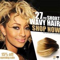 Cheap Short wavy weave Ombre 1B #27 blonde human Hair weaving 100% human hair Thick Human Hair Extensions Facedear Brand