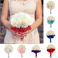 Wholesale Top Quality x23cm Wedding Bouquet Bridal Bridesmaid Aartificial Rose Flower Ribbon Pearl Posy Handmade Satin Rose Flower Wedding Decor