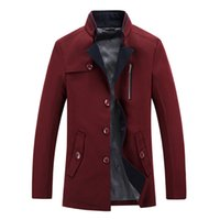 Wholesale Men s Windbreaker Business Comfortable Warm Trench Coats Pure Color Slim Cool Outerwear Add Thick Wool Stand Collar Long Sleeve
