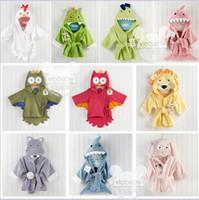 baby shark robe - 2015 Baby Infant color Cotton Wicking sleep Robes Owl Shark Hippo Panda Lion Monsters Night robes Bathrobe sleepwear pajamas TOPB3746