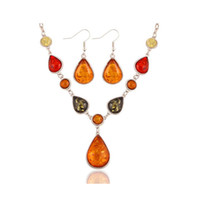 amber stones for sale - 2016 Fashion Design Charm Droplets Jewelry Set for Women Natural Stone Synthetic Amber Necklace Earrings Sets Hot Sale CT026