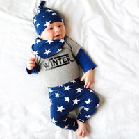baby bibs long sleeves - Boys Autumn Winter Clothing Outfits European Children Long Sleeve T shirt Full Stars Print Long Pants Bib Hat Sets Infant Baby Suits
