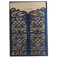 iron fence - 100pcs Blue Iron Gate Fence Laser Cut Wedding Invitations Hollow Pearl Paper Invitation Card Printable Customized Party Supplies JJ589