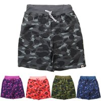 Wholesale Stylish Couples Camo Shorts Summer Shark Drawstring Sweatpants Hip hop Short Cargo Pant Trousers Sportswear Tracksuuits FXF0733