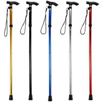 Cheap Wholesale-New 5 Colors Aluminum Metal Folding Walking Stick with Adjustable Height and Non-slip Rubber Base For Mountaineering Hiking