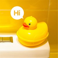 Wholesale 1pcs Cute ABS Cartoon Duck Soap Box Floating Travel Soap Dish Organizer Kids Bathroom Shower Soap Holder