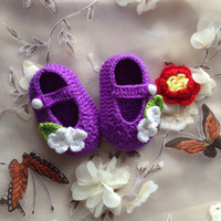 baby slipper shoes - Hot Sale Newborn Handmade Knit Crochet Baby Shoes Baby Slippers T Strap Baby Girls Crochet Handmade Knit Shoes M custom