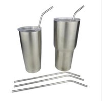 Wholesale Yeti Stainless Steel Bend Drinking Straw With Cleaning Brush for Double Wall Vacuum Insulated Yeti oz oz Rambler Tumbler Cups ml