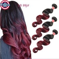 Wholesale Burgundy Ombre Hair Extensions Brazilian Virgin Hair Body Wave Color Tone Human Hair Weave Bundles Ombre Brazilian Hair Weft